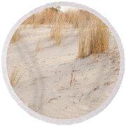 Dry Dune Grass Plants Round Beach Towel