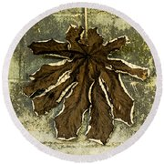 Dry Leaf Collection Natural Round Beach Towel