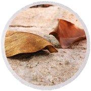 Dry Leaves Round Beach Towel