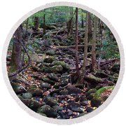 Dry River Bed- Autumn Round Beach Towel