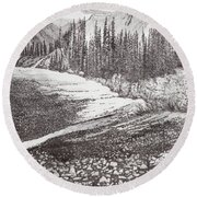Dry Riverbed Round Beach Towel