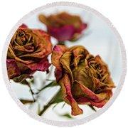 Dry Roses Round Beach Towel