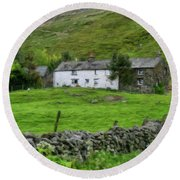 Dry Stone Wall And White Cottage - P4a16022 Round Beach Towel