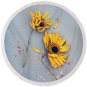 Dry Sunflowers On Blue Round Beach Towel