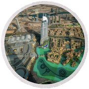 Dubai Downtown Aerial View By Sunset, Dubai, United Arab Emirates Round Beach Towel