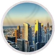 Dubai Towers At Sunset. Round Beach Towel