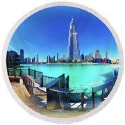 Dubai Burj Khalifa Panorama Round Beach Towel