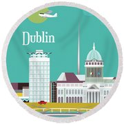 Dublin Ireland Vertical Scene Round Beach Towel