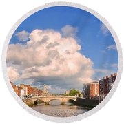 Dublin's Fairytales Around  River Liffey Round Beach Towel