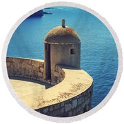 Dubrovnik Fortress Wall Tower Round Beach Towel