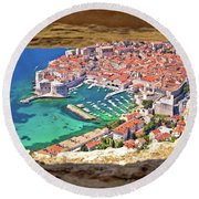 Dubrovnik Historic City And Harbor Aerial View Through Stone Win Round Beach Towel