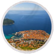 Dubrovnik Old Town From Above Round Beach Towel