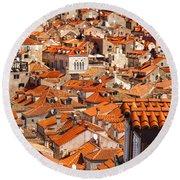 Dubrovnik Orange Old Town Rooftops Round Beach Towel