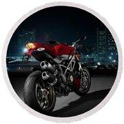 Ducati By Moonlight Round Beach Towel