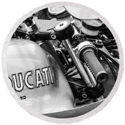 Ducati Desmo Motorcycle -2127bw Round Beach Towel