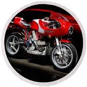 Ducati Mhe And Ferrari Round Beach Towel