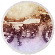 Ducati Supersport 2 - Sports Bike - 1975 - Motorcycle Poster - Automotive Art Round Beach Towel