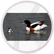 Duck And Chick Round Beach Towel