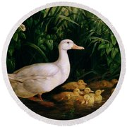 Duck And Ducklings Round Beach Towel by English School