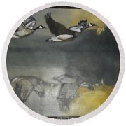 Duck Are Flying On The Sea Side Round Beach Towel