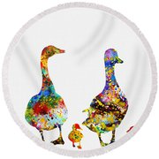 Duck Family-colorful Round Beach Towel