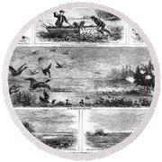 Duck Hunting, 1868 Round Beach Towel