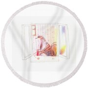 Duck In A Window Round Beach Towel