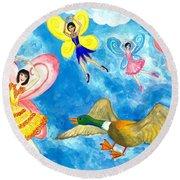 Duck Meets Fairy Ballet Class Round Beach Towel