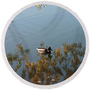 Duck On Golden Pond Round Beach Towel
