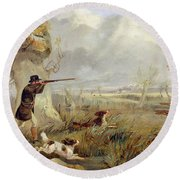 Duck Shooting  Round Beach Towel
