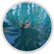 Duck Swimming In The Blue Lagoon Round Beach Towel