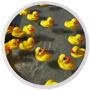 Duckies Round Beach Towel