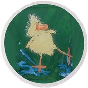 Duckling 2 Round Beach Towel