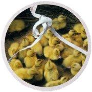 Ducklings In A Basket Round Beach Towel
