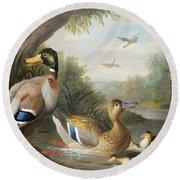 Ducks In A River Landscape Round Beach Towel by Jakob Bogdany