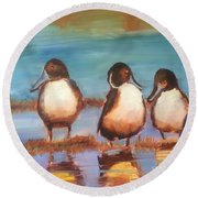 Ducks In A Row Round Beach Towel