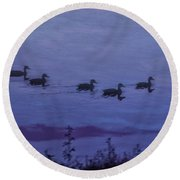Ducks In A Row - Swimming In The Clouds Round Beach Towel