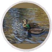 Ducks In The Pond Round Beach Towel