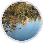 Ducks On Peaceful Autumn Pond Round Beach Towel