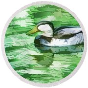 Ducks Swimming In A Pond Round Beach Towel