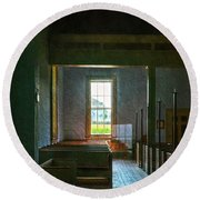 Dudley's Chapel Window - Painting Effect Round Beach Towel