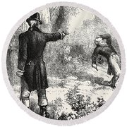 Duel Between Burr And Hamilton Round Beach Towel