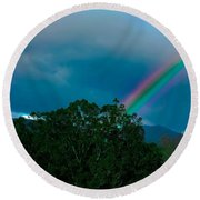 Dueling Rainbows Round Beach Towel