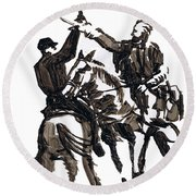 Dueling Sabres Round Beach Towel