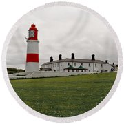 Dull Day At The Seaside. Round Beach Towel