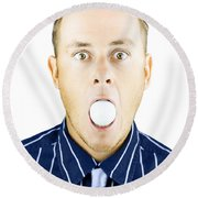 Dumbfounded Man Silenced By A Golf Ball Round Beach Towel