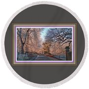 Dundalk Avenue In Winter. L A With Alt. Decorative Printed Frame. Round Beach Towel