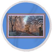 Dundalk Avenue In Winter. L A With Decorative Ornate Printed Frame. Round Beach Towel