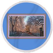 Dundalk Avenue In Winter. L B With Decorative Ornate Printed Frame. Round Beach Towel