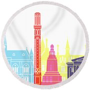 Dundee Skyline Pop Round Beach Towel